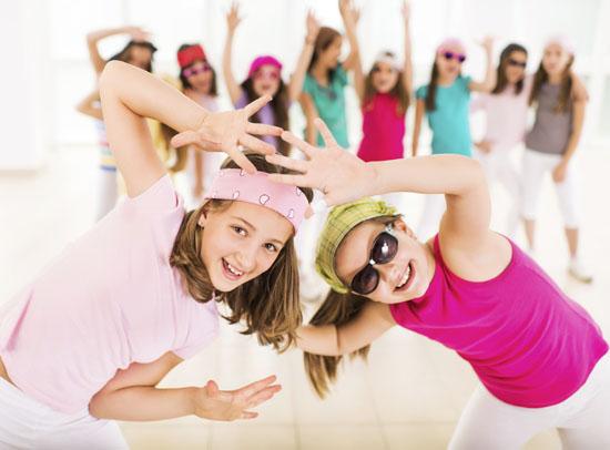 Little girls dancing.